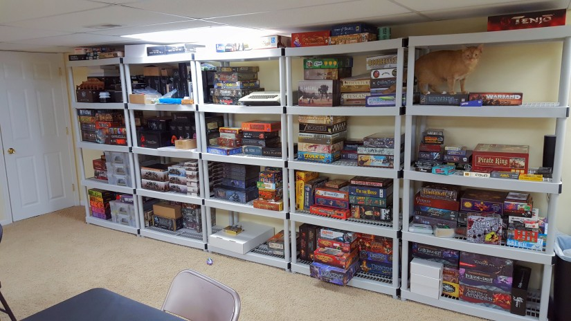 5 plastic shelves with games.