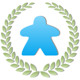 To Play Is Human logo: blue meeple in the center of a green laurel wreath