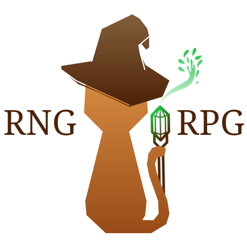 RNG RPG logo: Cat silhouette, cat is orange and wearing a brown wizard hat and holding a brown/green staff with its tail. The staff has wisps of magic flowing out of the top.