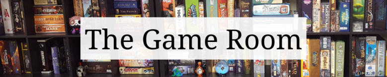 "Page heading graphic that says ""The Game Room"" on top of a cropped image game shelves."