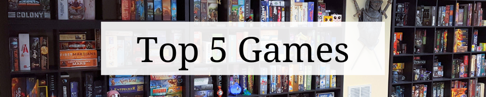 "Page heading graphic that says ""Top 5 Games"" on top of a cropped image game shelves."